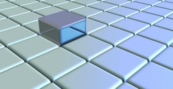 Un cubo sobresale de unos cuadrados