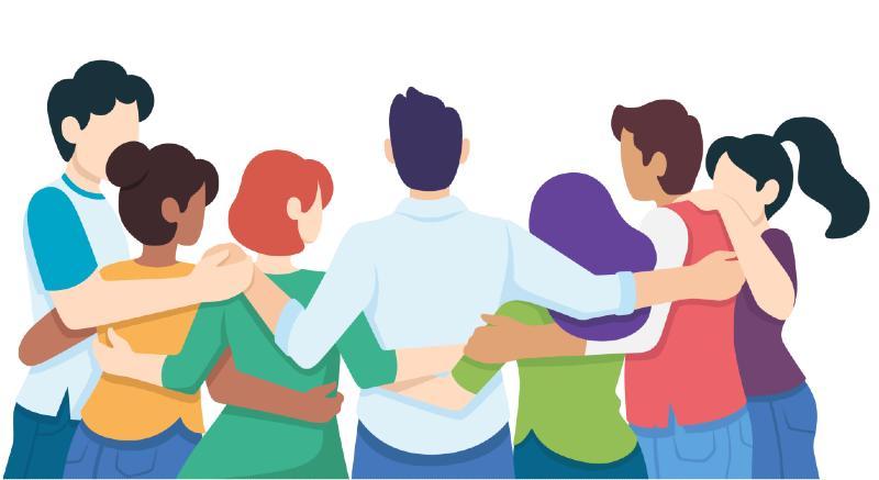 Ilustración de personas abrazadas